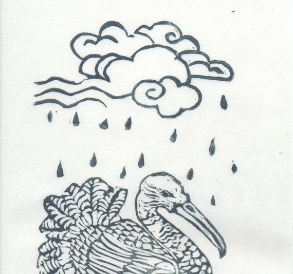 Shang Yang the Bird that Makes the Rain Linocut by minouette, $21.00