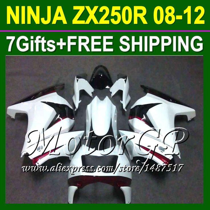 Купить товарТёмный красный белый 7 подарки для Kawasaki ниндзя 250r 08 09 10 11 12 ZX250 ZX 250 16 # 175 2008 2009 2010 ZX250R зализа + красный в категории Щитки и художественная формовкана AliExpress.