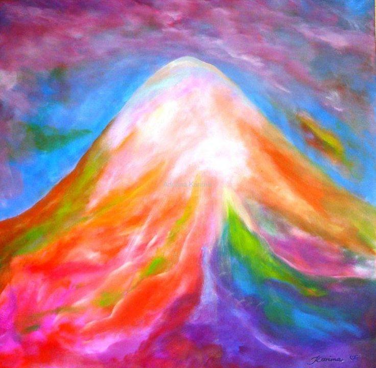 Mount Shasta, 2012 Adriana Karima Rozmiar oryginału 80cm x 80cm  Mount Shasta to miejsce dawnego wygasłego wulkanu, po drugie – znajduje się tam jeden ze sławnych Kryształów Atlantydzkich, Cudowny Kryształ OM.    Obraz w kolekcji prywatnej Dostępne reprodukcje  Koloryduszy.com