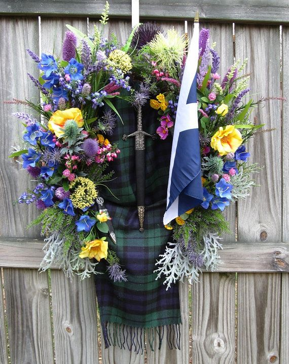 Scotland Black Watch Tartan Scottish Army Wreath, St. Andrew's Flag, Celtic Heritage, Clan, Military, extra large wreath, Thistle, heather