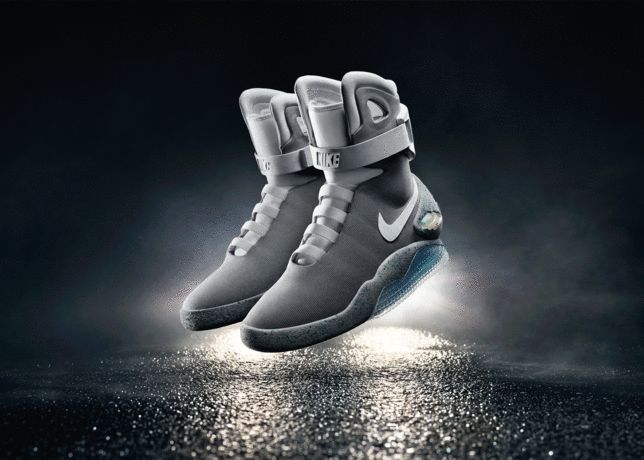 Nike will sell the self-lacing sneakers from Back to the Future in 2016 - Michael J. Fox is getting the first pair today  Of all the technological innovations promised by Back to the Future II two are most desired: the hoverboard and self-lacing shoes.