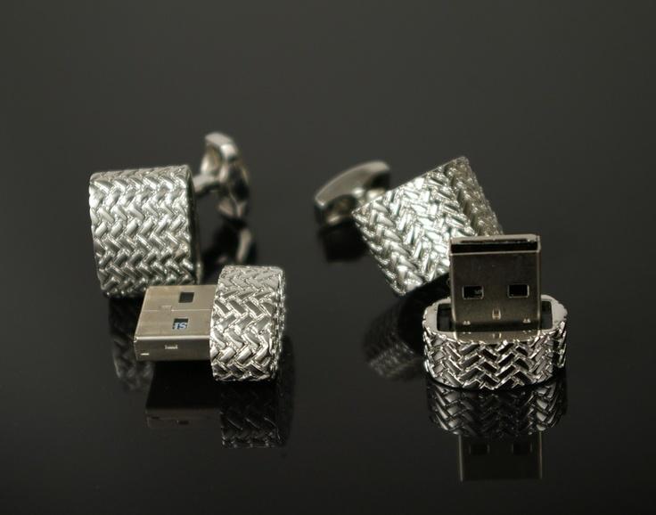 Textured 4GB USB Cufflinks in Silver -  CuffLinked.com.au