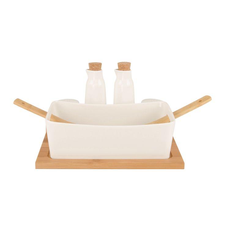 salad set with bamboo base ceramic white