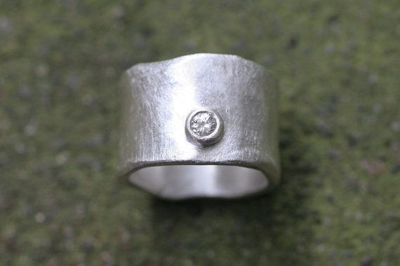 Silver wide ring textured + diamond... my kind of ring (SaaraReidsema - Etsy - $240)