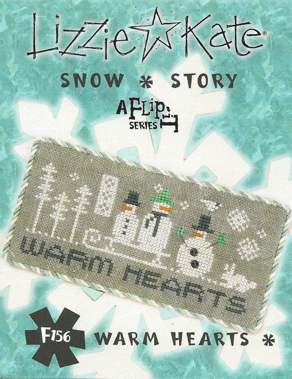 Lizzie Kate Snow Story Flip-It F156 - Warm Hearts - Snowmen Counted Cross Stitch Pattern with Buttons