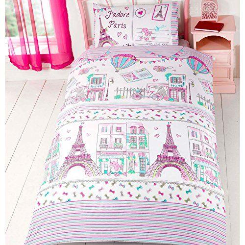 find premium paris bedding for kids with a pretty pinkgreen low cost paris poodles eiffel tower vintage bicycles uk singleusa twin duvet cover set