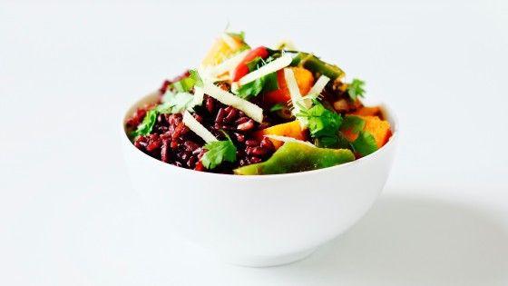 Voňavá dýně na páře s fazolkami a černou rýží