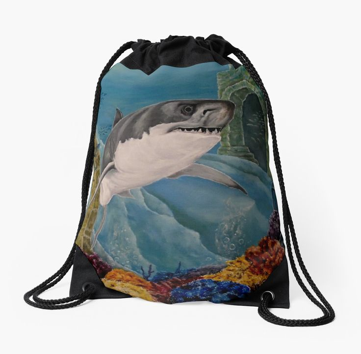 Drawstring Bag,  aqua,blue,turquoise,beautiful,fancy,unique,trendy,artistic,awesome,fahionable,unusual,accessories,for sale,design,items,products,gifts,presents,ideas,shark,wildlife,redbubble