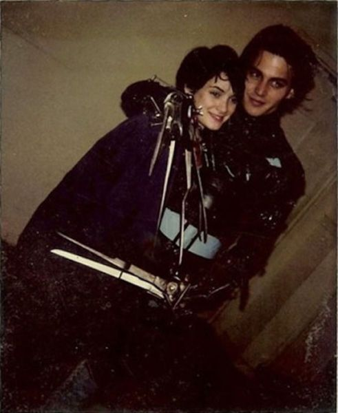 Johnny Depp and Winona Ryder hugging it out between takes.