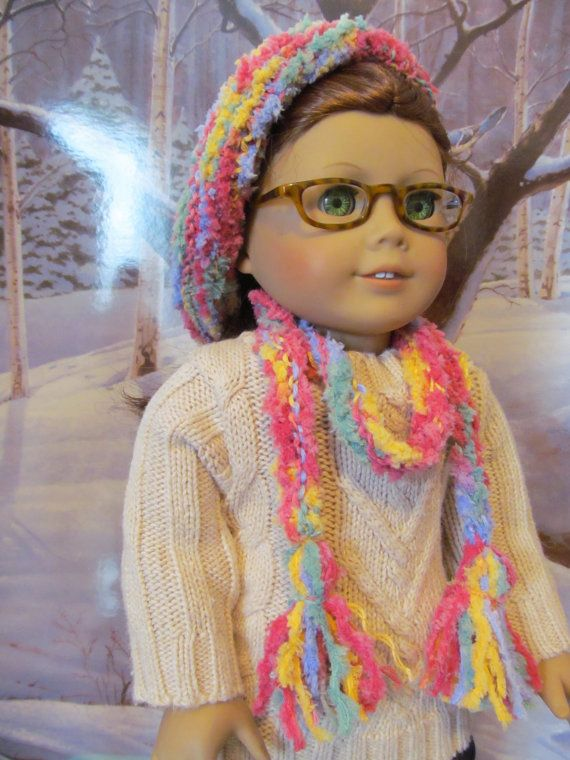 Hand knit Doll Hat  Knit Hat and Scarf Slouchy by fashioned4you
