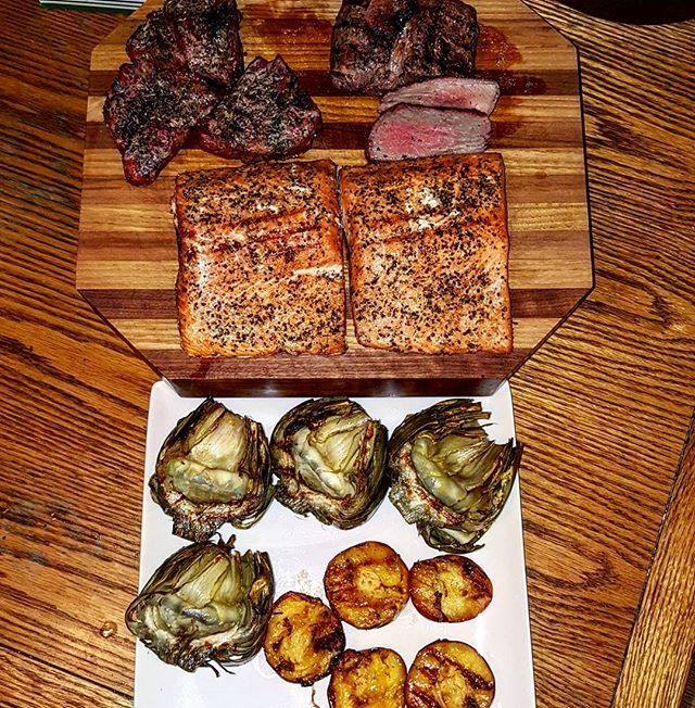 Just finished up the rest of dinner from my Traeger.  Lamb loin chops, Lamb leg steaks, salmon, grilled artichokes and peaches with brown sugar.  Pleased with everything.  @traegergrills @traegerbbq @grill_lovers1 @bbq.nation #traeger #traegergrills #bbq #smoke #pellets #lamb #salmon #artichoke #peaches #CertifiedGrillLover Reposted Via @b_k_209