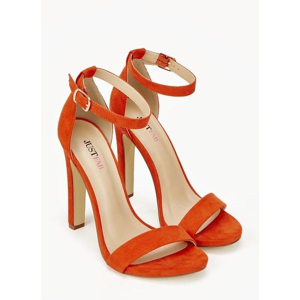 Justfab Open Toe Kati ($40) ❤ liked on Polyvore featuring shoes, apparel & accessories, open toe, orange, vegan shoes, ankle wrap shoes, synthetic shoes, orange shoes and open toe high heel shoes
