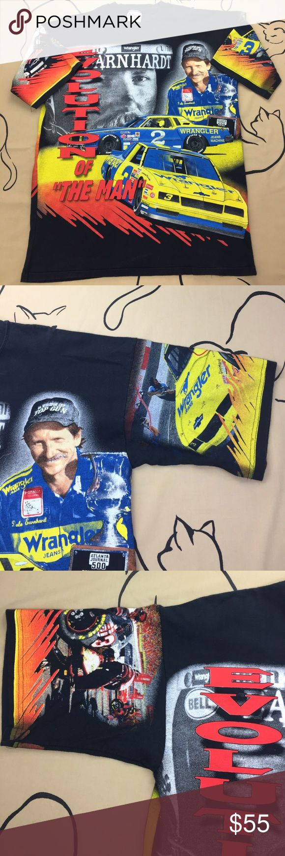 VTG/Rare 1988 Dale Earnhardt NASCAR T-Shirt EUC worn exactly once 9.5 Out if 10. Very rare double sided Dale Earnhardt T-Shirt depicting the evolution of his career. One side has the early images of his Wrangler car and the other His Classic black Goodwrench car. Official NASCAR shirt. Also depicted are all his Winston cup championships.tag says large but will also fit an extra large. NASCAR Shirts Tees - Short Sleeve