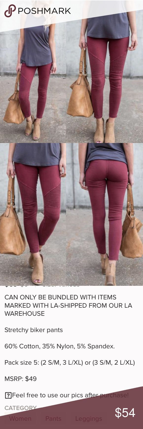 Blushed Berries • Stretchy Biker Leggings I'm in love with the biker pants!! So COMFY and TRENDY!!   60% cotton 35% Nylon 5% Spandex  No function pockets  Ankle Zipper  Also available in Grey ( without ankle zipper) and Dusty Rose Pants Leggings