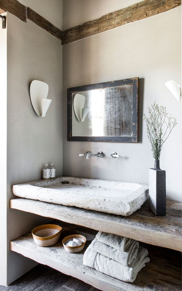 [Rustic and chic bathroom]