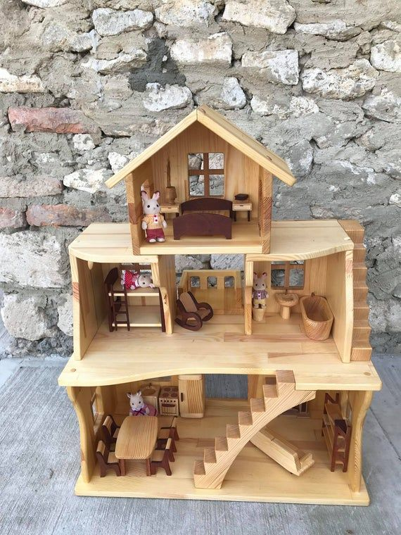 Wooden Dollhouse With Furniture Three Story Dollhouse 1 16 Image 1 Wooden Dollhouse Doll House Dolls House Interiors