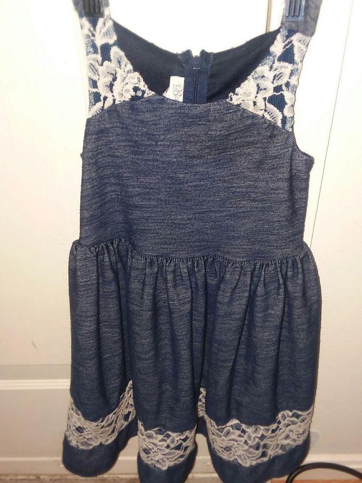 Bonnie Jean Girls Dress Size 5 Blue Lace Trim Sleeveless Casual Dress  #BonnieJean #Casual
