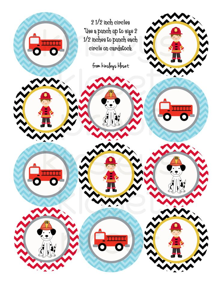 Printable Party Circles - Firetruck Party Cupcake Toppers - Firetruck Party…