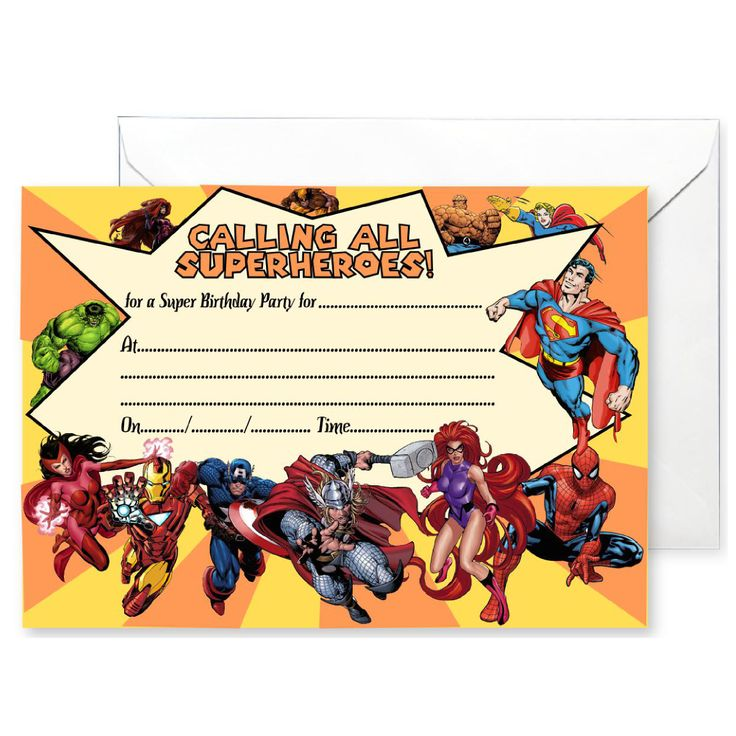 20 x Party Invitations inspired by Superheroes