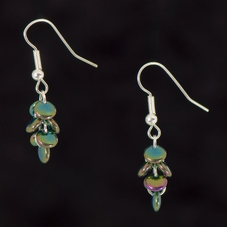 Metallic Green Drop Earrings, Cute Dainty Earrings, Stocking Filler for her, Iridescent disc earrings, - pinned by pin4etsy.com