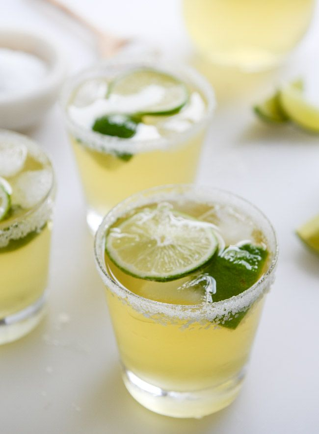Would be excellent using Mexican Moonshine Reposado Tequila!  serves about 4. 2 cups ginger beer 1 cup lime juice 1/3 cup Mexican Moonshine Reposado tequila 1/4 cup grand marnier 1/4 cup ginger simple syrp  (ginger syrup 1/2 cup water 1/2 cup granulated sugar 1 thumb-sized piece of fresh ginger)  ginger beergaritas I howsweeteats.com