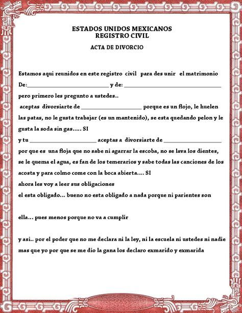 Acta de matrimonio y divorcio para la kermes o festejo del día del amor y la am…