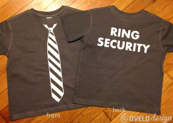 Ring Security Ring Bearer Tshirt on Back Tie on Front by OVELO