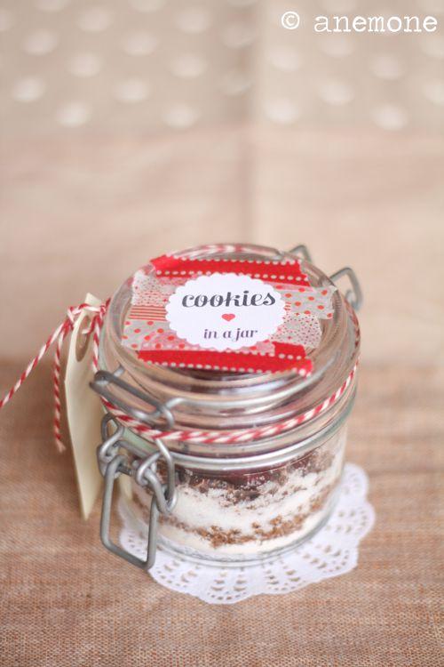 Cookies in a jar: preparato per biscotti in barattolo + free printables per voi / [ Anemone in Cucina ]