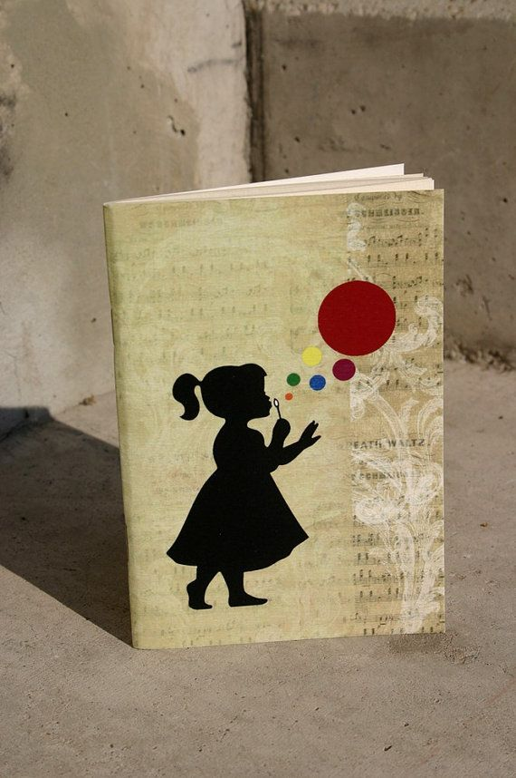 Vintage bubble & girl journal blowing bubbles by GuBoArtBook