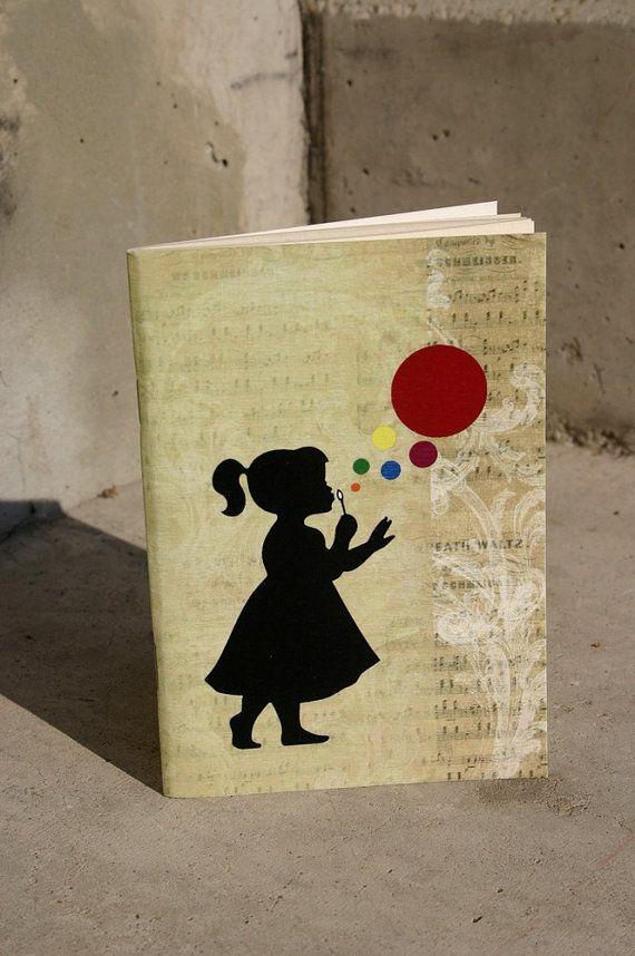 Vintage bubble & girl journal blowing bubbles by GuBoArtBook