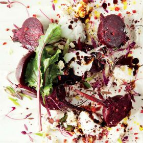 Balsamic roasted beetroot with yoghurt.