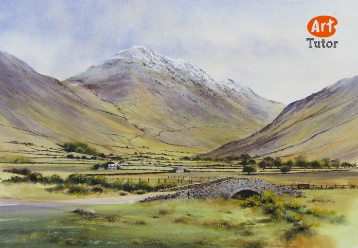 Great Gable in the Lake District by Geoff Kersey. See Geoff's lessons on ArtTutor HERE >> https://www.arttutor.com/artists/geoff-kersey