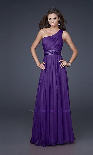Grecian inspired one shoulder chiffon dress with detailed empire waist beading.
