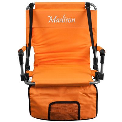 Flash Furniture Folding Stadium Chair Chair Color: Orange, Thread Color: Floral Pink