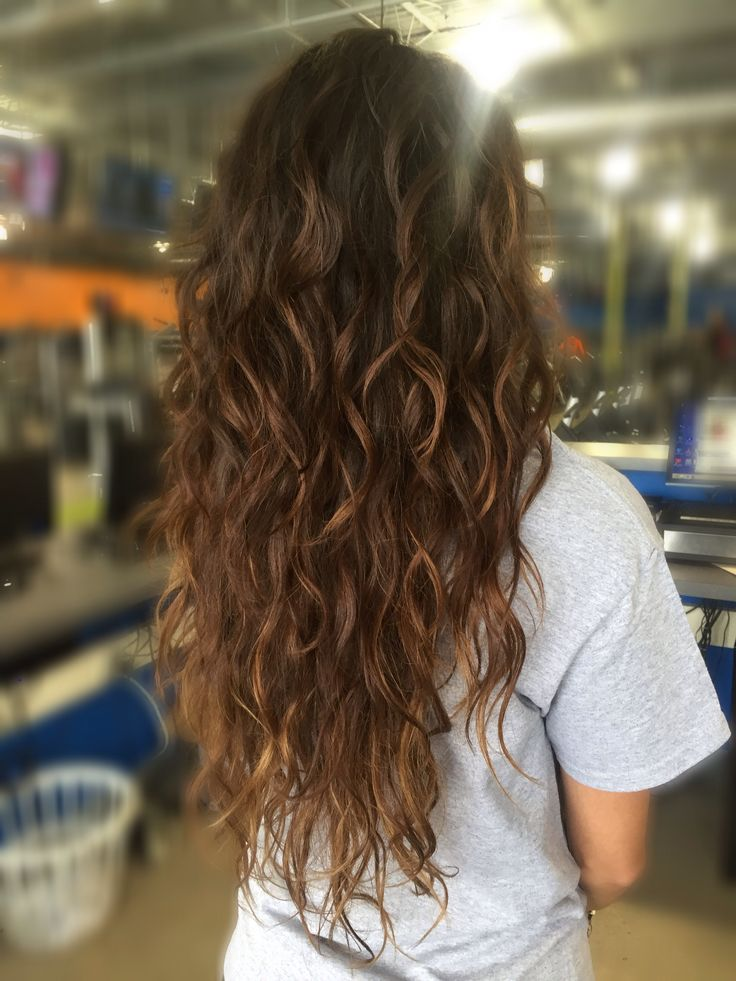 Beachy hair beachy curls with caramel balayaged color