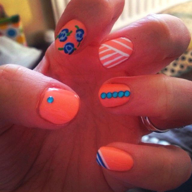 Nails nailart polish orange blue stripes bling flowers cute