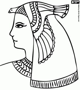 An Egyptian goddess with a bird headdress coloring page