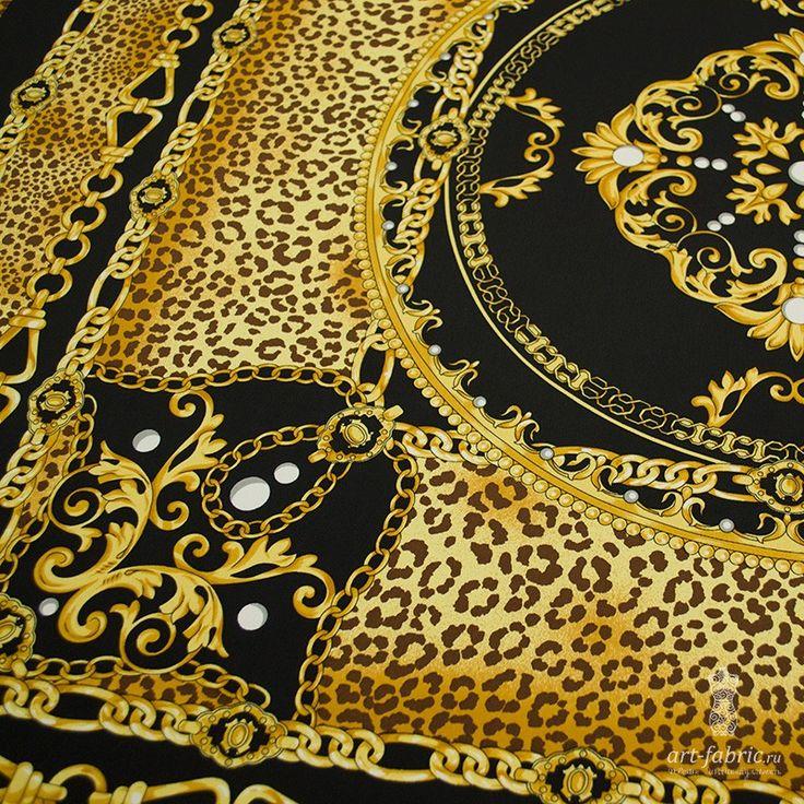 Креп шелковый, платок (золотые цепи) (004795) купить в интернет магазине итальянских тканей по цене 1380 р.