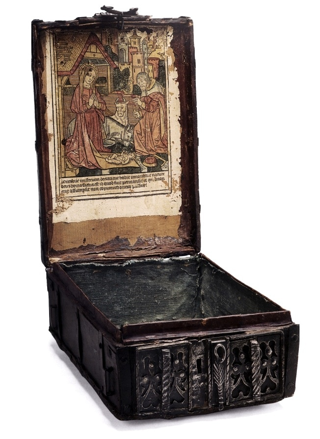 Message box with hand-painted print, Germany, 1490s1490S, Messages Boxes, Medieval Boxes, Hands Painting Prints, German Renaissance, Secret Compartments, Renaissance Prints, Antiques, Secret Prints