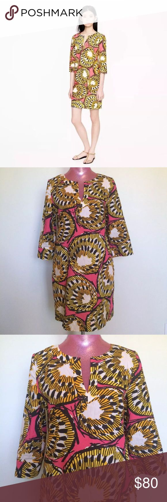 "J Crew Ratti Electric Kiwi Tunic Dress Size 8 - approx. measurements laying flat- 19 1/2"" W across chest - 33@ L shoulder to hemline  100% cotton - Tunic style - back Zip - on seam Pockets - inspired by bold colors of traditional African textiles - blown up Kiwi design from Italy's Ratti print house  Excellent pre-owned condition with no stains, tears or odors J. Crew Dresses"