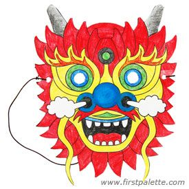 Create this easy paper Chinese dragon mask from a printable dragon mask template.