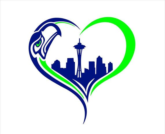 Heart Seahawks Skyline Decal Scoop Neck T Shirt By