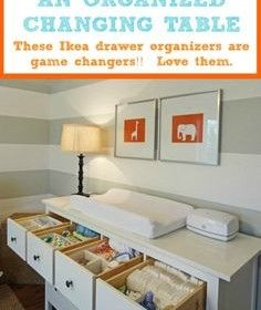[the good life blog]: Organizing your little one's nursery / bedroom!  I pinned because i like the horizontal grey lines  the orange prints