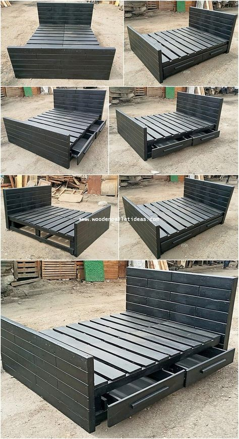 Wooden Pallet Bed With Storage Drawers In 2020 Pallet Furniture