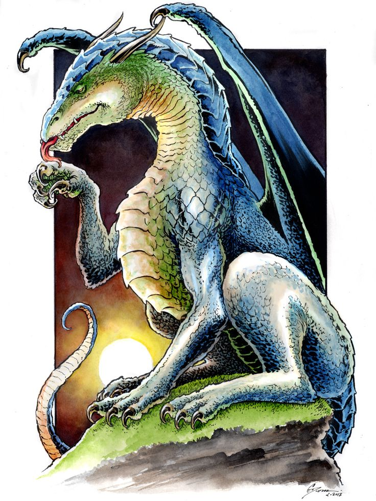 Blue Green Dragon by *DanielGovar