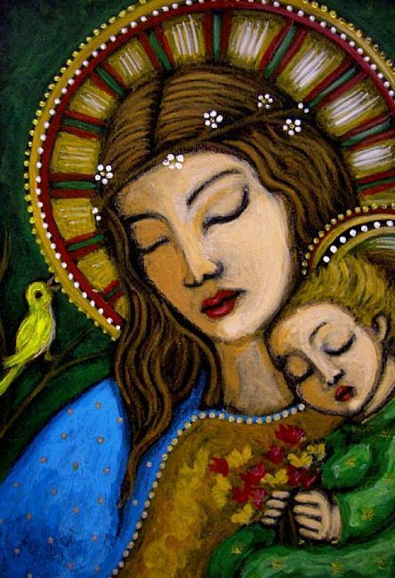 "Mother and Child | Cyra R. Cancel | ORIGINAL PAINTING INSPIRED IN THE ""MARY, QUEEN OF MAY"", OF ARTIST BERTA HUMMEL."