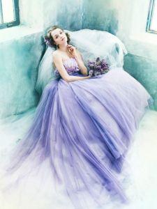 女子力アップのふわふわラベンダードレス♡ 桜の時期のお色直しのアイデア☆