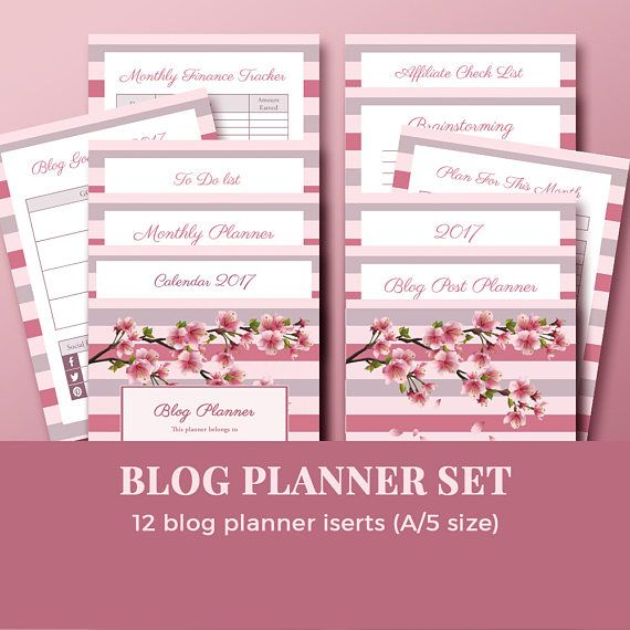 Blog Planner Set 2017 / Printable Planner for Bloggers / Blog