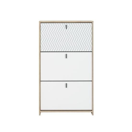 Janeiro Meuble A Chassures Style Scandinave Made In France Decor Chene Et Blanc L 68 X P 30 X H 116 Cm Meuble Rangement Meuble Chaussure Meuble A Chaussure Blanc