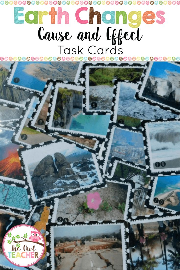 This is a set of 28 cause and effect Earth science picture task cards for students to generate cause and effect sentences based on constructive and destructive changes to the Earth's surface. Further, it is differentiated! This is a great way to integrate science and reading skills! $